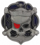 Skull Crossbones and Anchor Belt Buckle with display stand